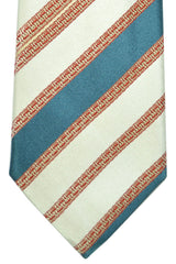 Corneliani Tie Cream Teal Stripes