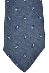 Corneliani Silk Tie Gray Navy Paisley