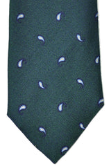Corneliani Silk Tie Navy Green Paisley