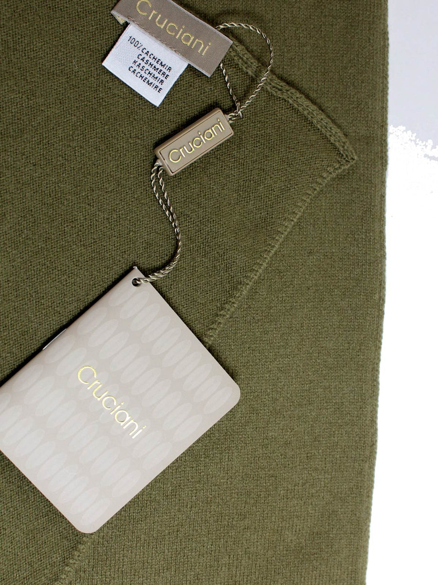 Cruciani Cashmere Scarf Solid Olive - Made In Italy FINAL SALE