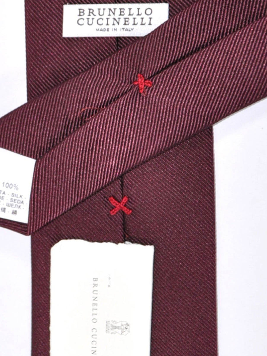 Brunello Cucinelli Tie Solid Wine Purple Grosgrain