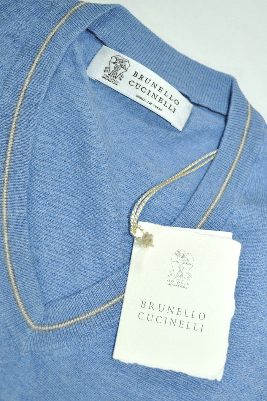 Brunello Cucinelli Cotton V-Neck Sweater Blue