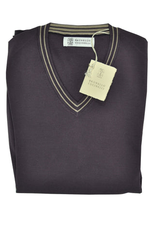 Brunello Cucinelli Cotton V-Neck Sweater Gray S