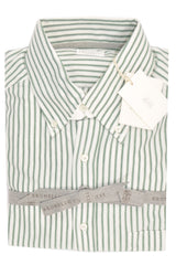 Brunello Cucinelli Button-Down Shirt White Green Stripes M SALE