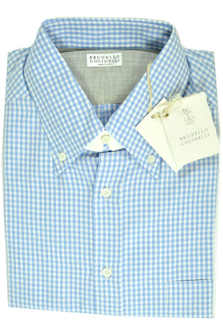 Brunello Cucinelli Button-Down Shirt Blue Check M SALE