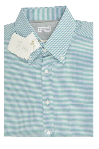 Brunello Cucinelli Button-Down Shirt White Green Navy Check M SALE