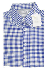 Brunello Cucinelli Button-Down Shirt Royal Blue White Grid M Slim Fit SALE