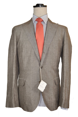 Brunello Cucinelli Sport Coat Brown Gray Linen EUR 50 / US 40 R - FINAL SALE