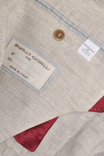 Brunello Cucinelli Sport Coat Sand Linen NEW