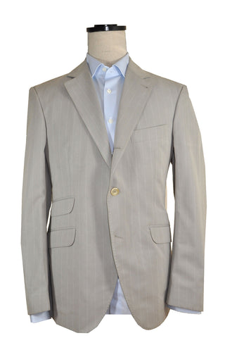 Brunello Cucinelli Sport Coat Gray Stripe Cotton EUR 50 / US 40 R