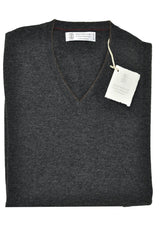 Brunello Cucinelli Cashmere Sweater Dark Gray V-Neck