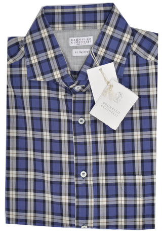Brunello Cucinelli Sport Shirt Navy Plaid M Slim Fit SALE