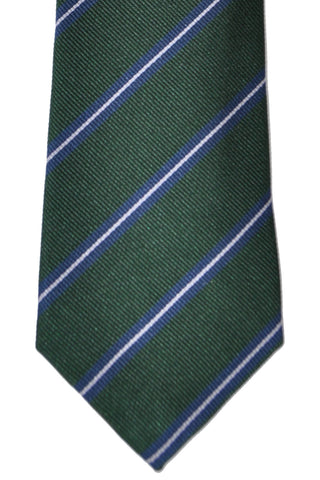 Brunello Cucinelli Tie Green Navy Stripes - Narrow Cut