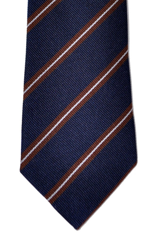 Brunello Cucinelli Tie Navy Brown Stripes - Narrow Cut