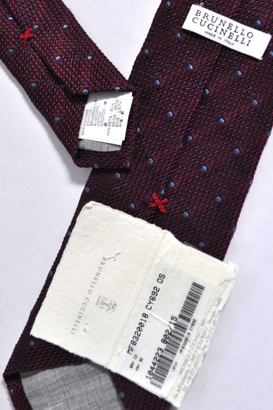 Brunello Cucinelli Tie Wine Purple Blue Dots Cotton Silk