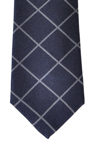 Brunello Cucinelli Silk Tie Navy Gray Stripes - Narrow Cut