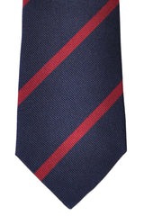 Brunello Cucinelli Silk Tie Navy Burgundy Stripes
