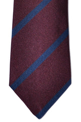 Brunello Cucinelli Silk Tie Burgundy Navy Stripes - Narrow Cut