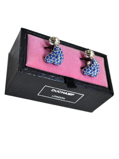 Duchamp Cufflinks Blue Crystals Heart