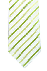 Da Vinci Narrow Tie Lime Stripes - Made in Italy