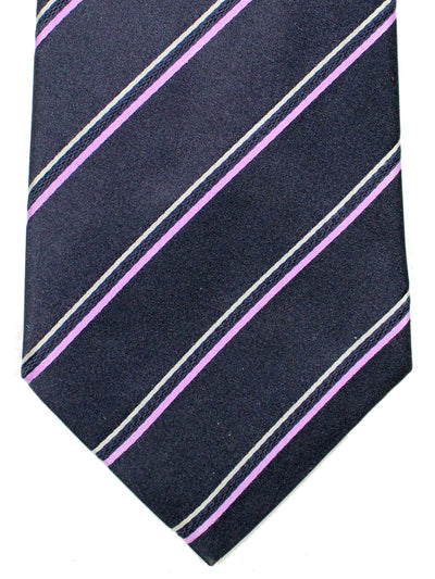 Davidoff Tie Midnight Blue Stripes - Hand Made In Italy