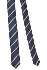 Da Vinci Skinny Tie Navy Lime Stripes