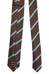 Da Vinci Skinny Tie Brown Aqua Stripes - Made in Italy