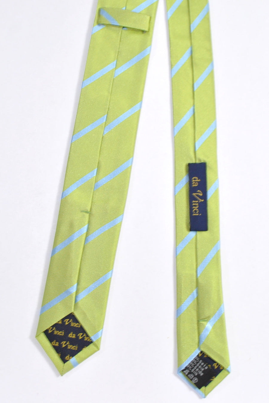 Da Vinci Skinny Tie Lime Sky Blue Stripes - Made in Italy