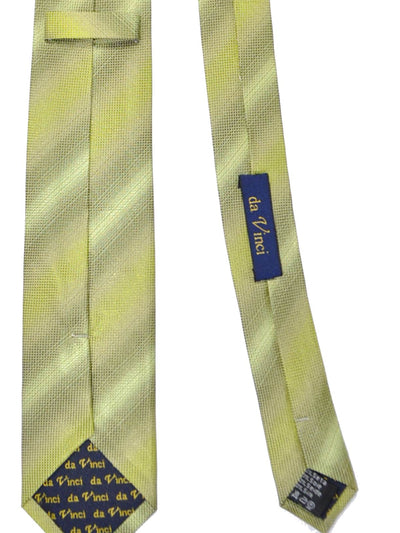 Da Vinci Silk Narrow Tie Lime-Green Gray Tonal Stripes - FINAL SALE