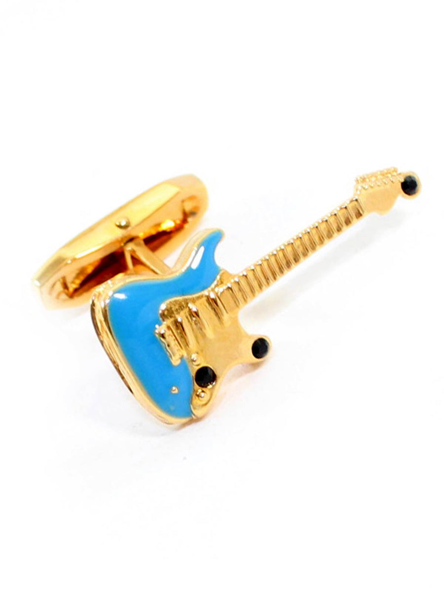 Dolce & Gabbana Cufflinks Gold Blue Guitar