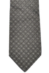 Dolce & Gabbana Skinny Tie Taupe Gray Silver Pattern