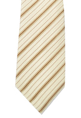Dolce & Gabbana Skinny Tie Cream Taupe Brown Stripes