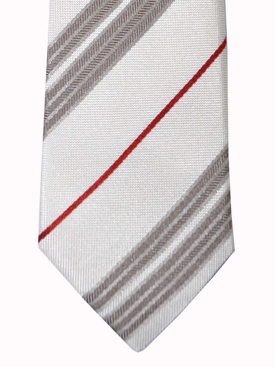 Dolce & Gabbana Skinny Tie White Silver Gray Red Stripes