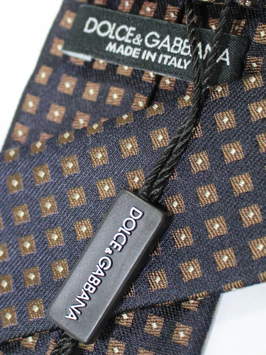 Dolce & Gabbana Skinny Tie Black Brown Geometric