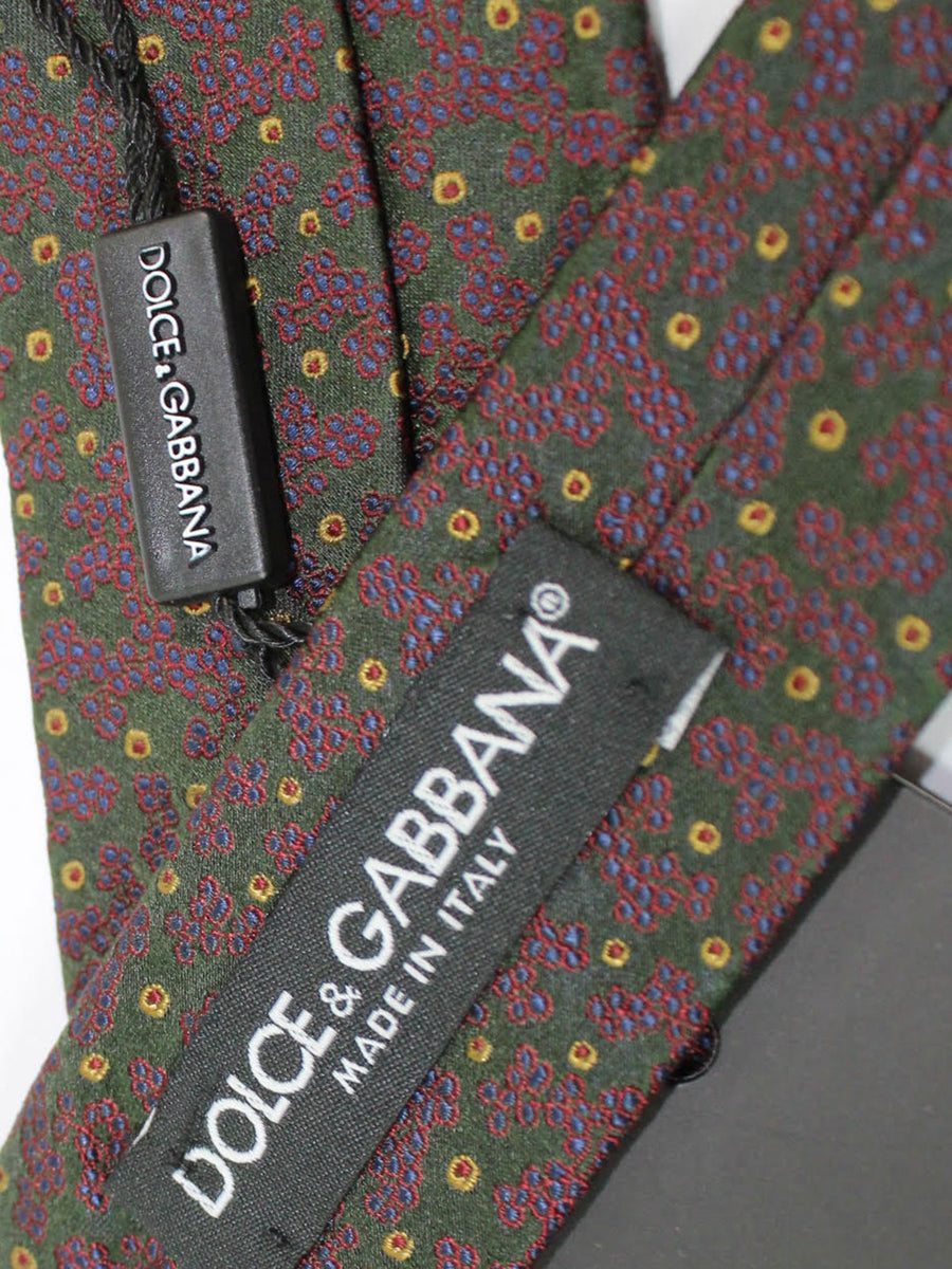 Dolce & Gabbana Skinny Tie Green Purple Design