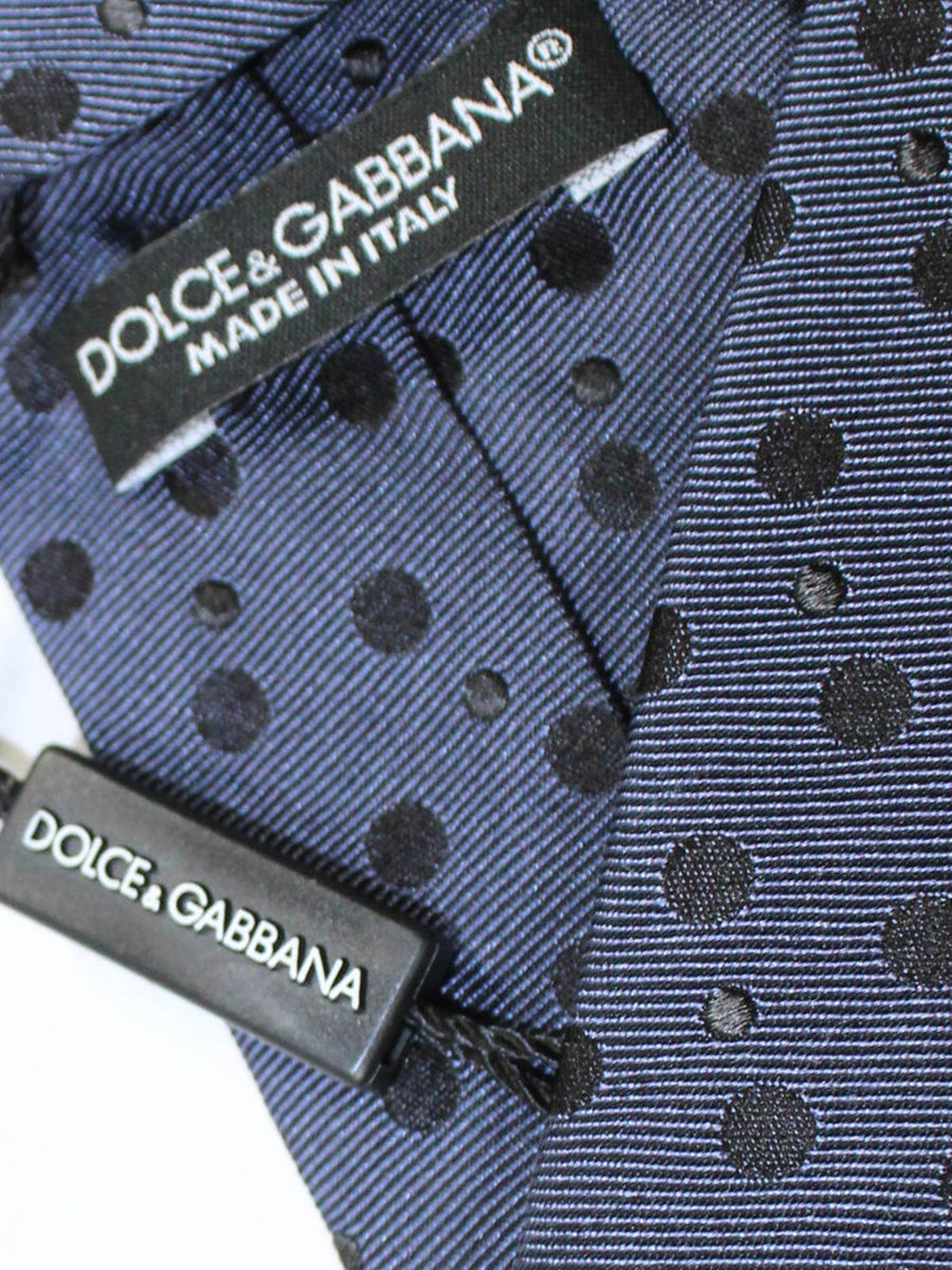 Dolce & Gabbana Skinny Tie Midnight Purple Black Polka Dots