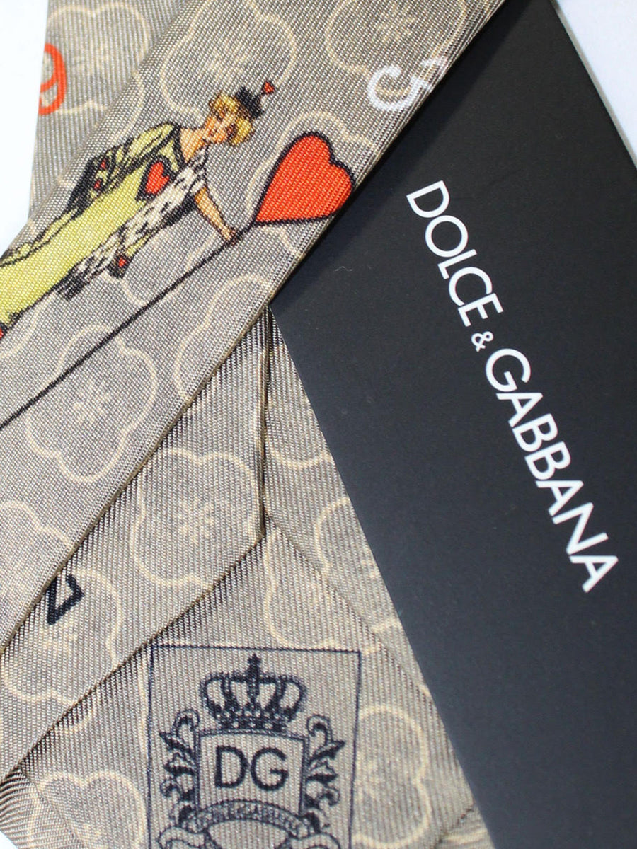 Dolce & Gabbana Skinny Tie Gray Orange Queen Hearts