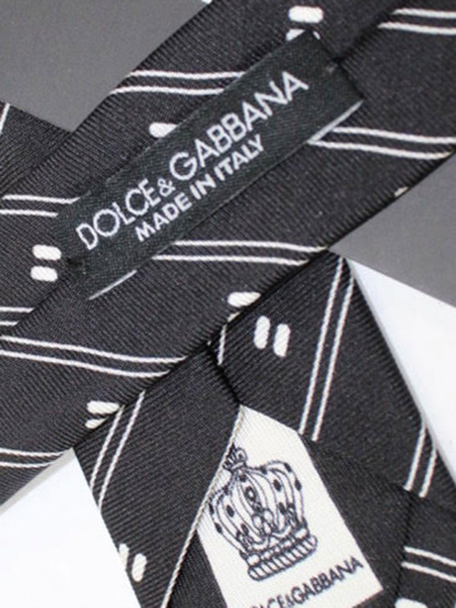 Dolce & Gabbana Skinny Tie Black White Stripes