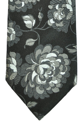 Duchamp Tie Black Gray Floral SALE