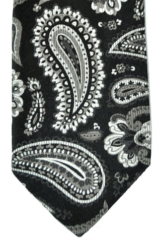 Duchamp Tie Black Gray Paisley SALE