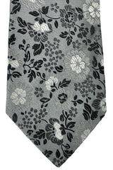 Duchamp Tie Black Gray Flowers SALE