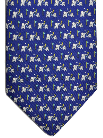 Salvatore Ferragamo Tie Royal Blue Elephants On The Golf Course