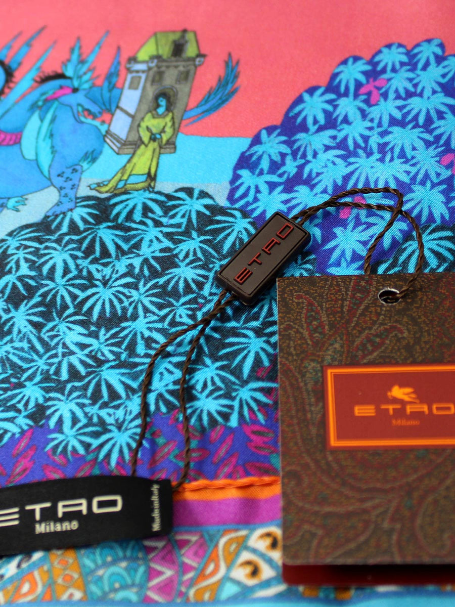 Etro Silk Pocket Square Pink Blue
