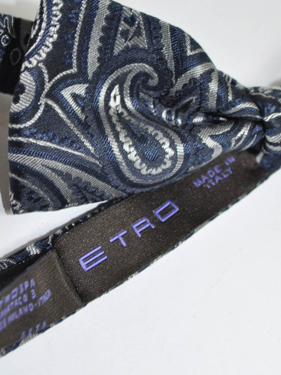 Etro Bow Tie Dark Blue Black Silver Paisley