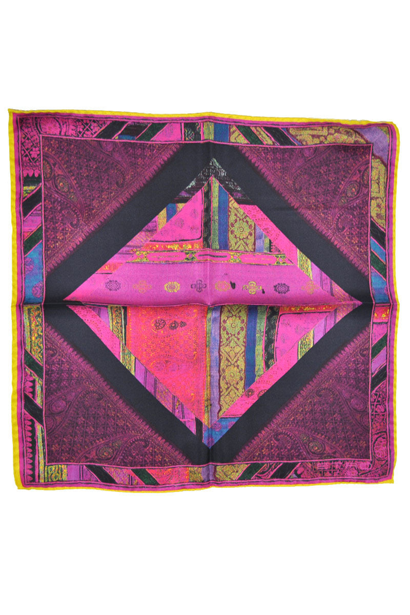 Etro Pocket Square Fuchsia Yellow