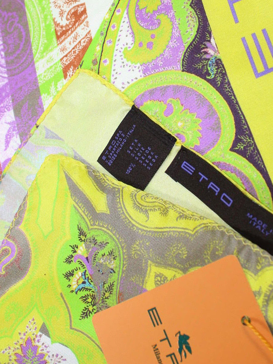 Etro Silk Pocket Square Lime Purple Ornamental Design