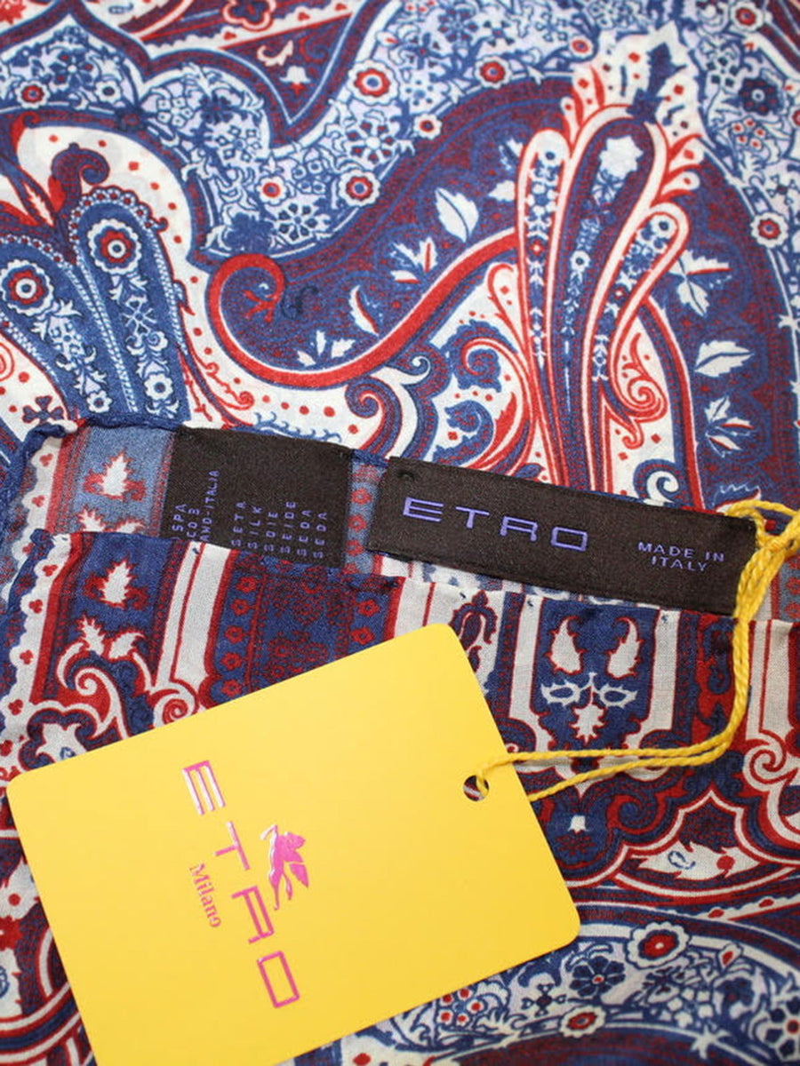 Etro Silk Pocket Square Navy Maroon White Paisley Design