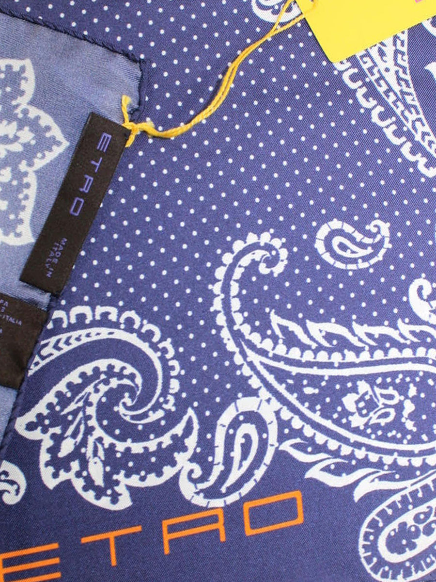 Etro Silk Pocket Square Navy White Paisley Design