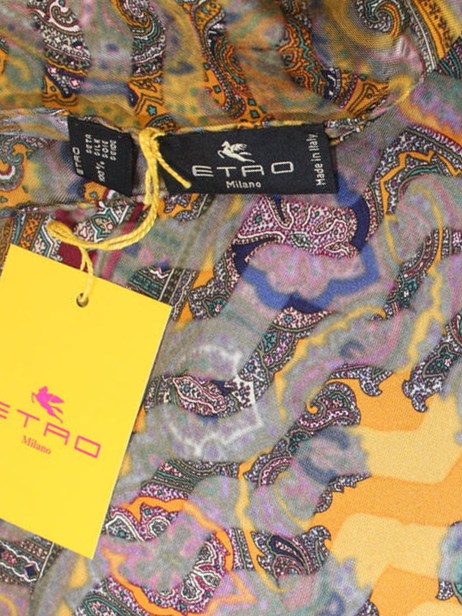 Etro Silk Pocket Square Black Orange Ornamental Design