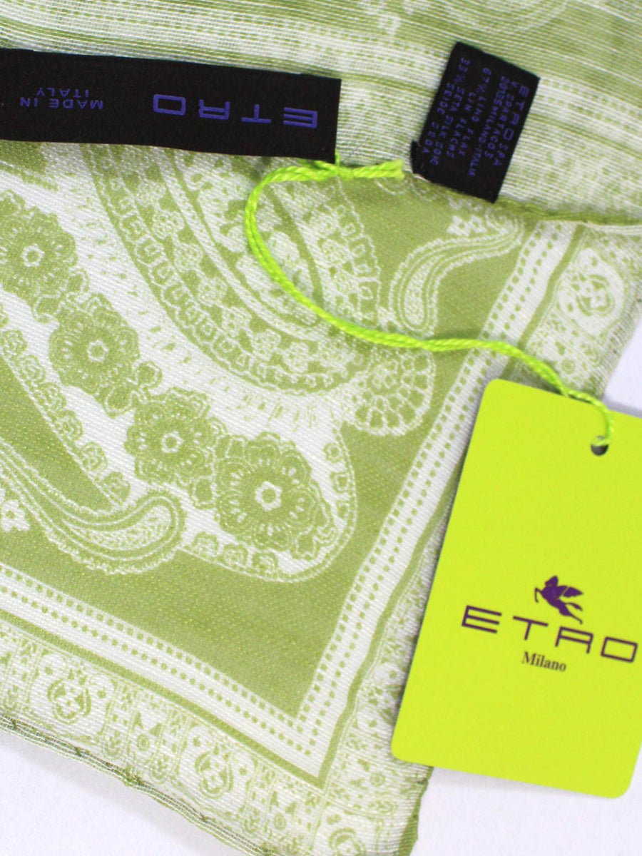 Etro Pocket Square Olive White Paisley Linen Silk